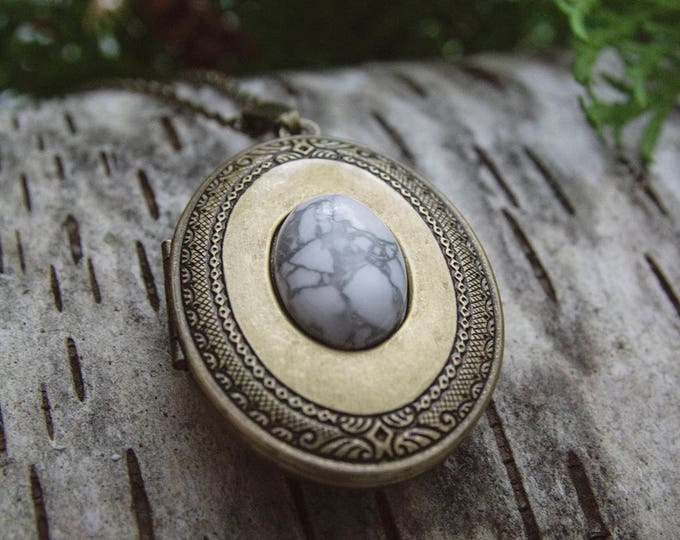 Featured listing image: EYRIE CO. // Brass + Gemstone Perfume Locket Necklace