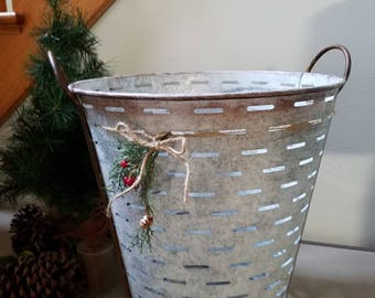 Large Olive Bucket Farmhouse Basket