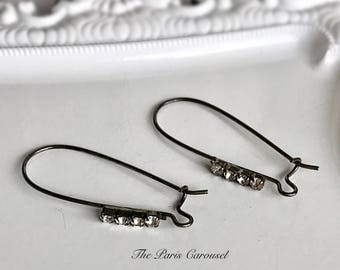 rhinestone ear wires oxidized silver toned nickel free nf pierced hook earring supply component large, 3 pairs