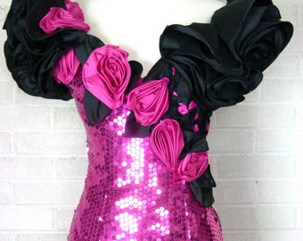 80s Vintage Alyce Designs Evening Dress - Black and Hot Pink Size 6 - Mermaid - Rumba Dress - Tango