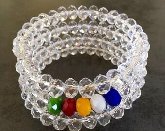 Five Elements Rainbow Crystal Prism Spiral Bracelet | Feng Shui Jewelry | Australian Seller