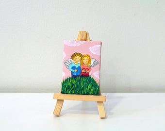 Tiny wedding painting with mini easel tiny easles wooden easel Original art angels - little gift idea - engagement gift - couple gift