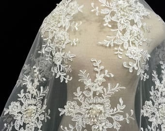 Lace Fabric, Light Ivory Bridal Beaded Lace, Bridal Supply, Beautiful Lace, Remnant Fabric, Bridal Lace, Light Ivory Lace Material