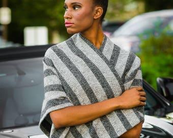 Grey Wool Poncho, Stripe Poncho, Stripe Shawl, Chevron Poncho, Wrap Shawl, Wrap Poncho, Open Front Poncho, Wrap Around Poncho, Sweater Wrap