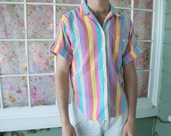Vintage 80s 90s Colorblock Striped Shirt