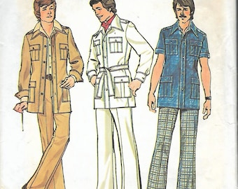 "Vintage 1975 Simplicity 6887 Retro Men's Unlined Jacket & Pants Sewing Pattern Size 40 Chest 40"" UNCUT"