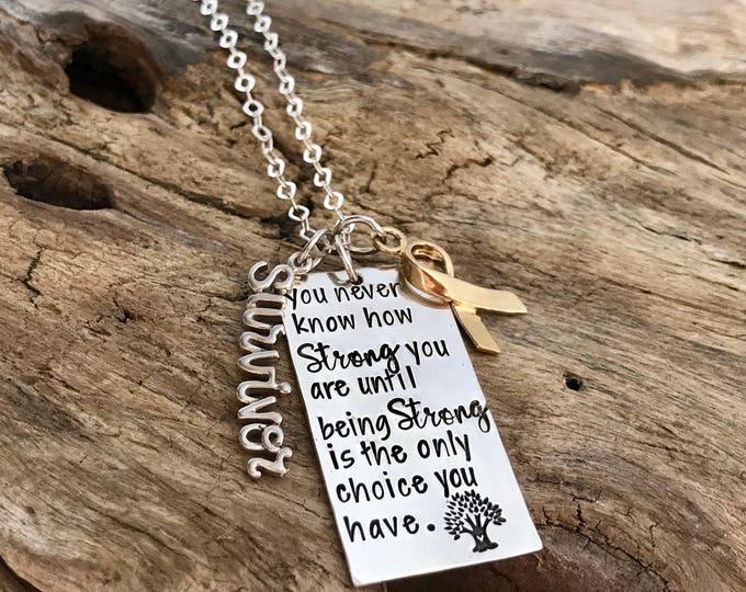 Sterling Silver Hand Stamped Necklace for Someone Battling / Survivor / Illness / Cancer / Disease