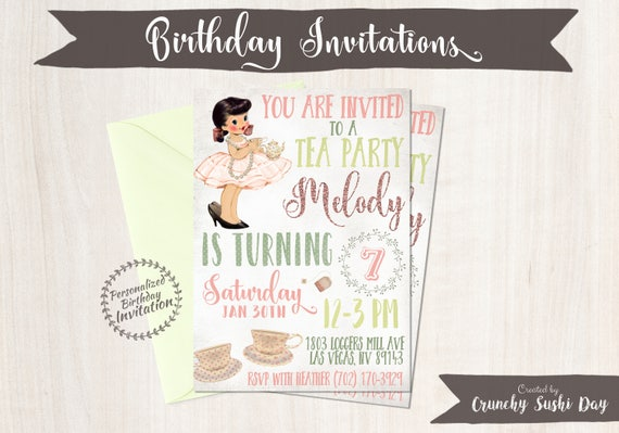 Vintage Tea Party Birthday Invitations, Cute Birthday, Girl Birthday Invitations, Tea Party Birthday, Printable Invitations, Vintage 045