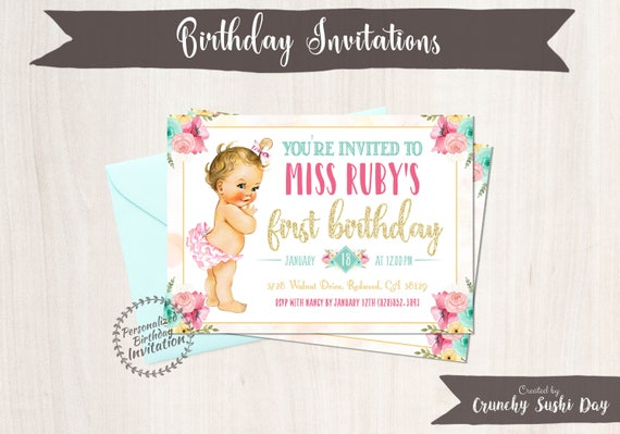 St Birthday Invitations Crunchy Sushi Day - Vintage girl birthday invitation