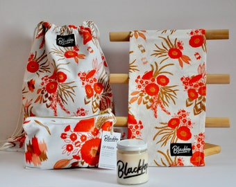 Gift Set: Ochre Floral Print Drawstring Backpack, Zipper Pouch, Tea Towel Candle Set, Soy Candle, Vegan Candle, All Natural Gift