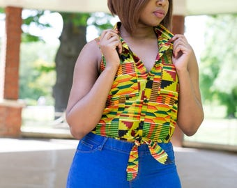 NEW! RUDO Sleeveless Tie Front Summer Top in Green Intense Kente, African Print Top, Shirt, African Clothing by Afrocentric805