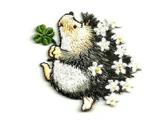 Hedgehog - Hedgie - 4 Leaf Clover - Flowers - Erinaceinae - Embroidered Iron On Applique Patch