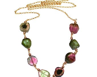 "Watermelon Tourmaline Necklace Tourmaline Slice Watermelon Tourmaline Jewelry Multicolor Gold Station Necklace 18"" Rainbow Necklace"