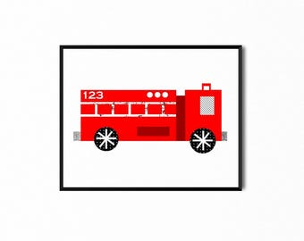 Fire Truck Engine Simple Collage Art Printable, Original Illustration, Art for Kids, Baby Nursery Room Decor, Children's Print, Wall Art