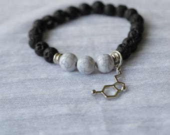 Biolojewelry - Serotonin Neurotransmitter Molecule Lava Stone Black and White Bracelet