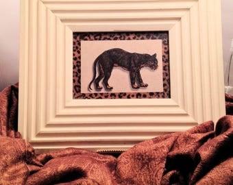 Vintage Framed Jaguar Print