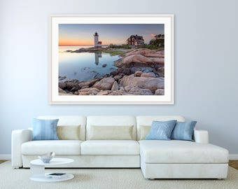 New England Lighthouse Photography, Large Seascape Wall Decor, Annisquam Lighthouse Sunset Photo, Cape Ann, Rockport MA, Blue Yellow Orange