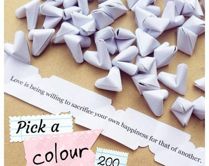 200 paper origami heart love quotes - wedding - simple decor - free delivery - wedding favour - personalised wedding