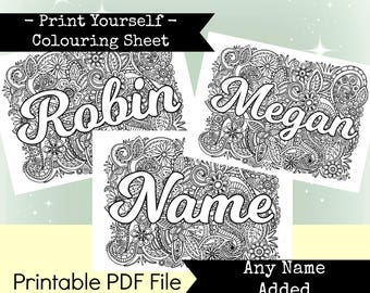 Any Name Added Personalised & Printable Colouring Sheet