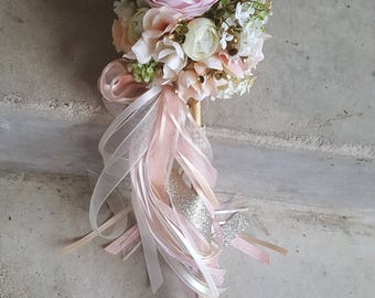 Custom Order for ONE Flower Girl Pom Wand Ivory Blush Pink Champagne