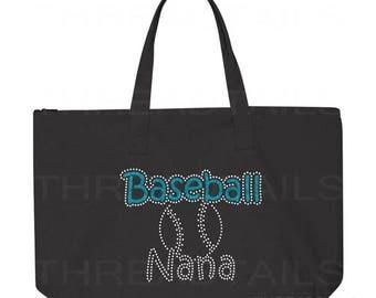 Baseball Nana Tote Bag. Glitter Rhinestone Baseball Sparkly tote.  Bling gift idea for Grandmothers.  Large black bag, Zipper top.