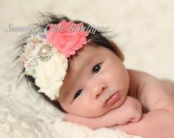 SALE Baby Headband, Infant Headband, Newborn Headband, Vintage Shabby Chic Headband Triple Rosettes on skinny elastic