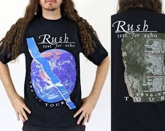 True Vintage RUSH Test for Echo Tour T-shirt Size L Vintage 1990s