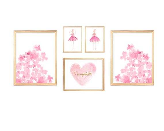 Pink Gallery Wall, Set of 5 Watercolor Prints for Girls
