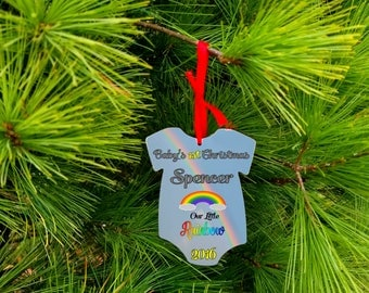 Baby Shirt Shape/Baby's first chrsitmas/Christmas Ornament/rainbow baby/mdf/Double Sided/Custom Printed/Photo/birth stats/free shipping