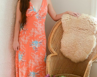 vintage 1970s peachy-pink floral disco maxi dress