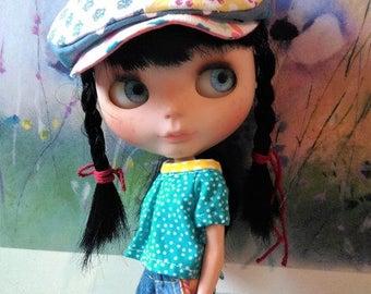 Blythe flat cap patchwork style ooak