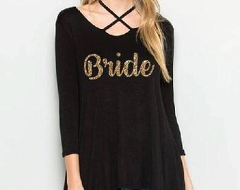Bride Black Scoop Neck A line Tunic Shirt - Womens Tee. Criss Cross Oversize T-Shirt