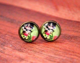 Green Cat Flower Earrings, Cat Jewelry, Cat Stud Earrings, Cat Studs, Cat Earrings, Cat Earring Studs, Cat Posts, Green Cat Earrings