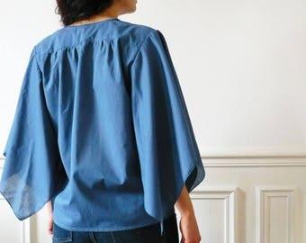 Bohemian blue cotton blouse