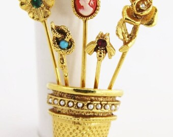EDWARDIAN Revival Vintage Gold THIMBLE Rhinestone Pearl Stickpin CAMEO Brooch Pin Unsigned Goldette Book Piece Victorian Goth Style Jewelry