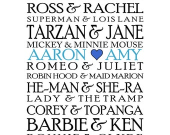 Custom/Personalized Famous Couples Poster