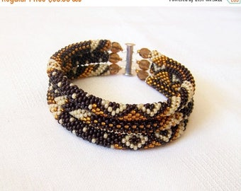 15% SALE Beadwork - 3 Strand Bead Crochet Rope Bracelet in dark brown, brown and creamy ivory - beaded jewelry - seed beads bracelet