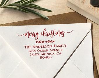 Merry Christmas Return Address Stamp, Holiday Address Stamp, Christmas Address Stamp, Merry Christmas Stamp, Address Stamp, Custom Stamp