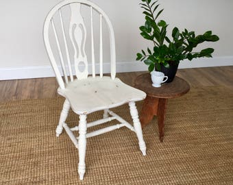 White Wood Chair - Farmhouse Dining Chair - Small Wooden Chair - Country Cottage Furniture - Shabby Chic Chair - Farmhouse Kitchen Chair