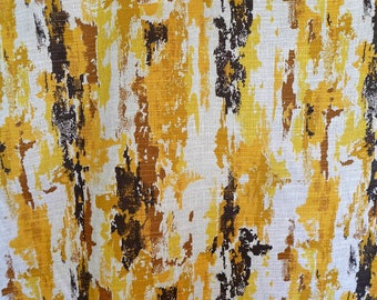 """Vintage Abstract Barkcloth Fabric by the Yard Yellow Gold and Brown Organic Stripes Paint Streaks 44"""" Wide 8 Available Upholstery Curtains"""