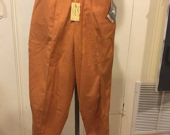 1950s White Stag deadstock new with tags copper-colored capris, waist 24 inches