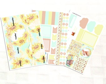 September Monthly View Sunflower Planner Sticker Kit, Vinyl Stickers, Floral, Erin Condren Sized