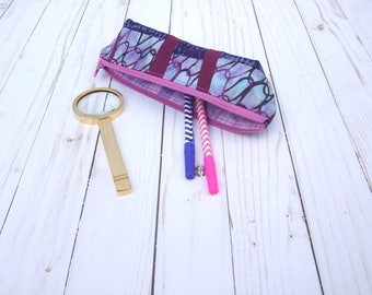 sample sale - small zippered pencil pouch - handmade notions case - school case - fun office decor - makeup bag - gift idea - scrappy purple