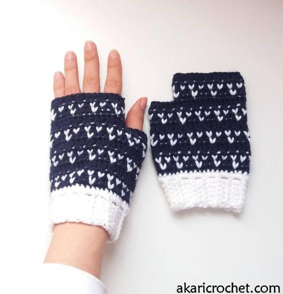 Fair isle / tapestry crochet mitts pattern. Fingerless gloves