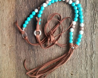 Leather Tassel Necklace, Layering Necklace, Turquoise Necklace, Tassel Necklace, Bohemian Jewelry, Boho Necklace, Long Necklace