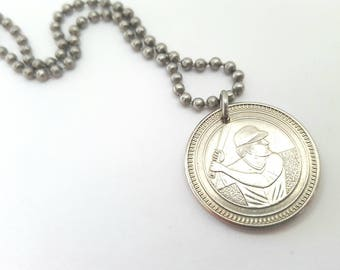 Baseball Token Coin Necklace  - Stainless Steel Ball Chain or Key-chain - sports gifts