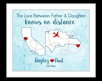 Personalized Gifts for Dad Birthday Present, Father and Daughter Grandpa Military Dad Long Distance maps Wall Art Print, christmas gifts dad