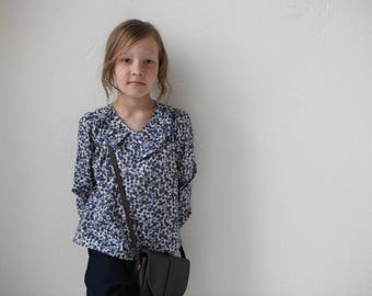 Girls blouse Ruffle collar top Toddler girls long sleeve blouse Liberty of London blouse Girls clothing Back to school Blue floral top