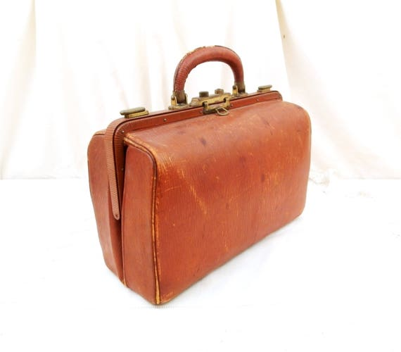 Antique French Leather Gladstone Bag, Leather Exterior and Interior, Doctor Bag from France, Small Portmanteau Suitcase, Retro Handbag