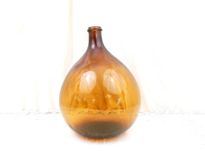 Vintage French Amber Glass Demijohn / Carboy 10 L / 2.6 Gallons, French Country Farmhouse Decor, Huge Round Brown Bottle from France
